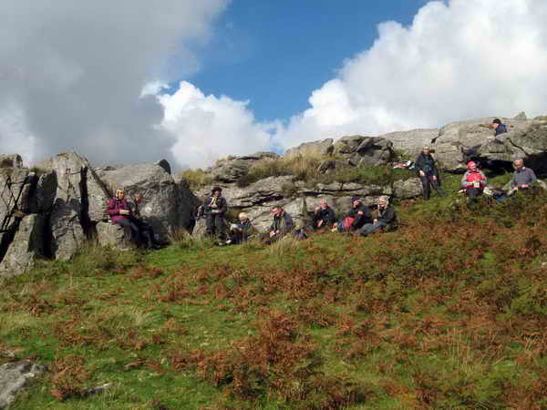 Lunch stop in the shelter of Kilmar Tor south face