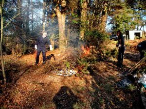 The bonfire is started for burning cuttings. Photo: Hilary Marshall