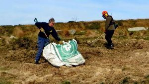"Filling a ""drag"" bag with cut gorse"