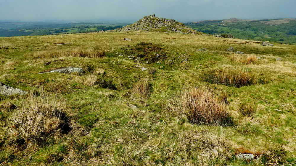 Stone pits, with rushes, near Ingra Tor cist.
