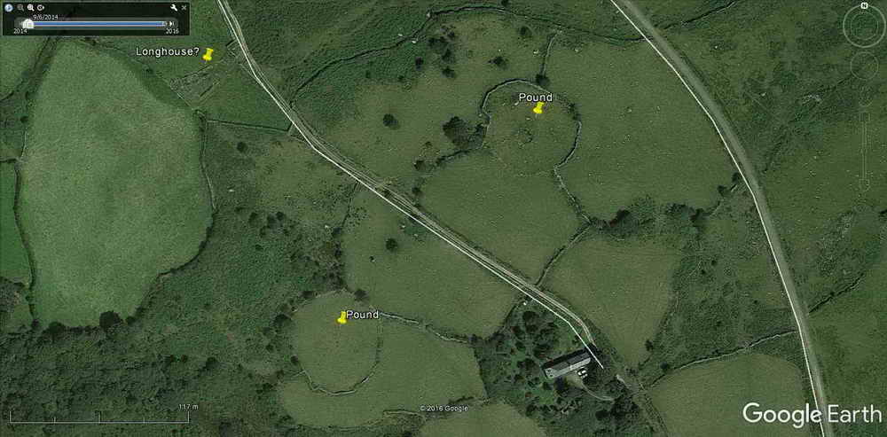 Image showing the Bronze Age pounds at Routrundle from Google Earth (c) 2016.