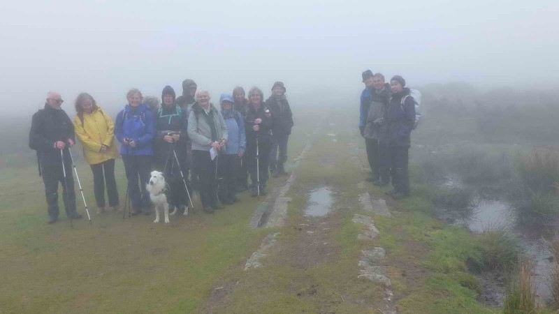 Section of Haytor granite tramway, in the mist!