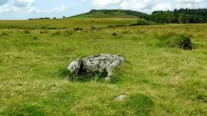 Outholme cist, with Sheepstor behind