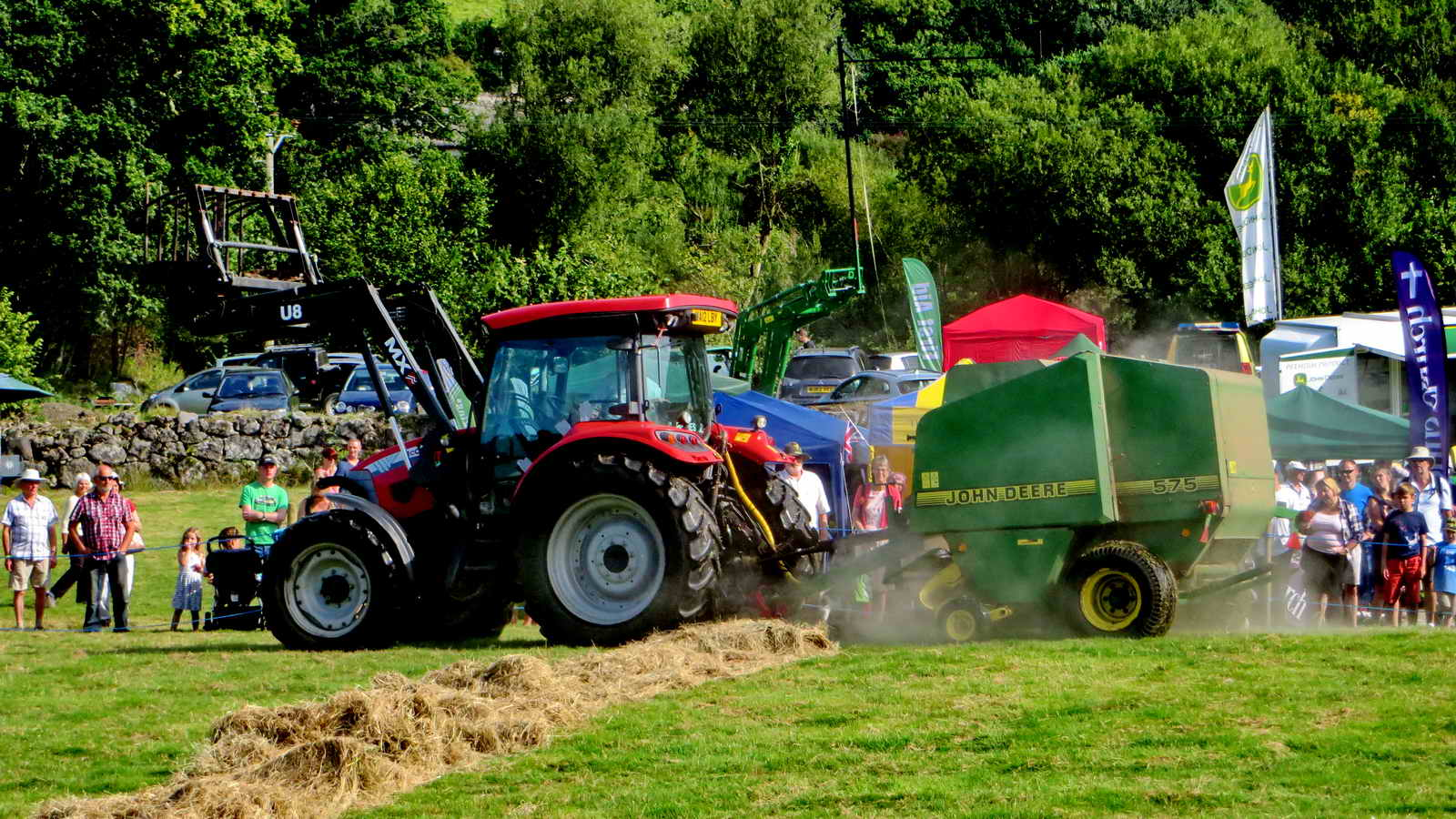 Tractor baling demonstration