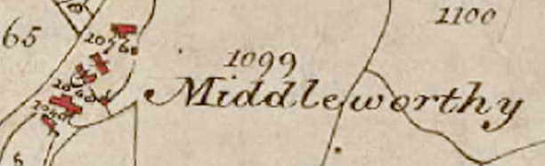 Middleworthy, as shown on the 1840 Tithe Map