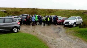 Gathering in the quarry car park near Whiteworks
