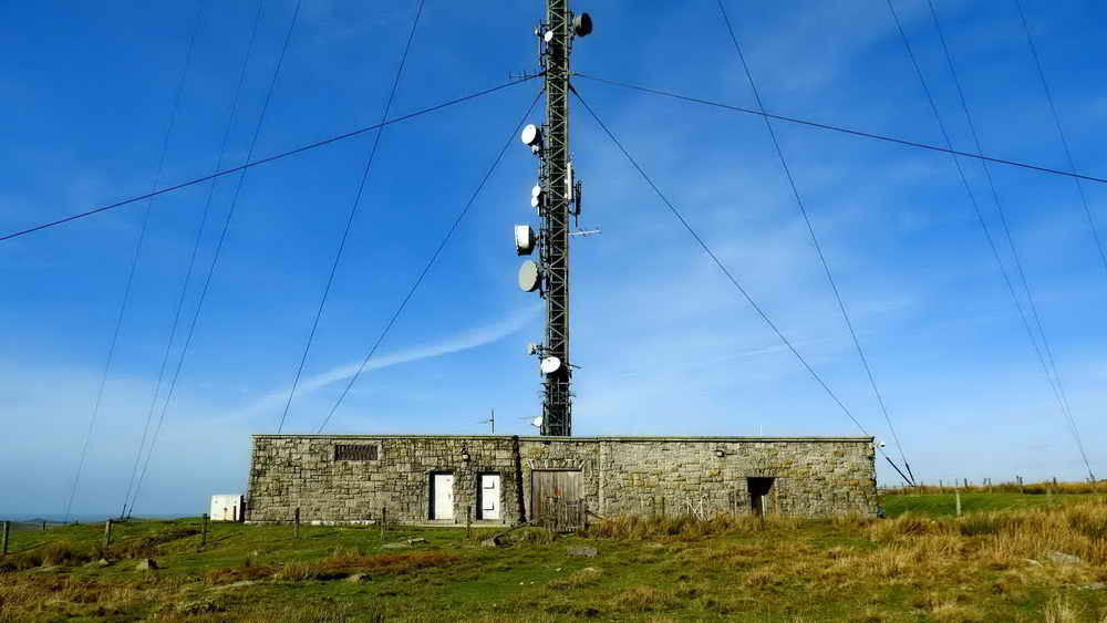 Base building of the TV transmitter seen from the south