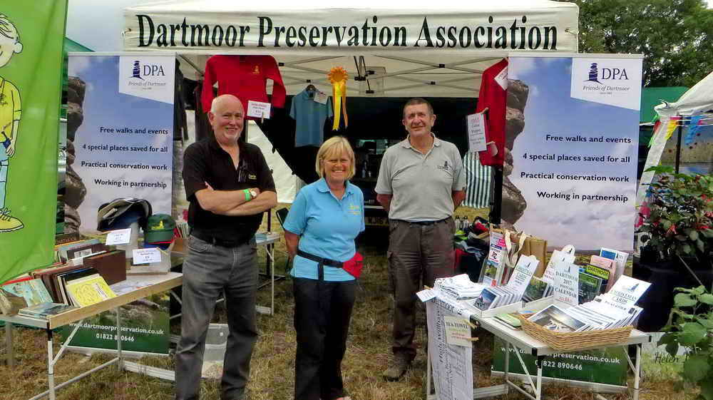 Manning the DPA stand at Chagford Show, 18 Aug. 2017, with Phil Hutt (Director, DPA) and Sylvia Hamilton, who coordinates conservation activities