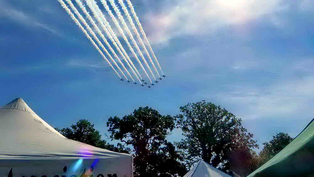 The Red Arrows flying over the DPA stand at the Lustleigh Show, 28 Aug. 2017, on Derek's 80th birthday!