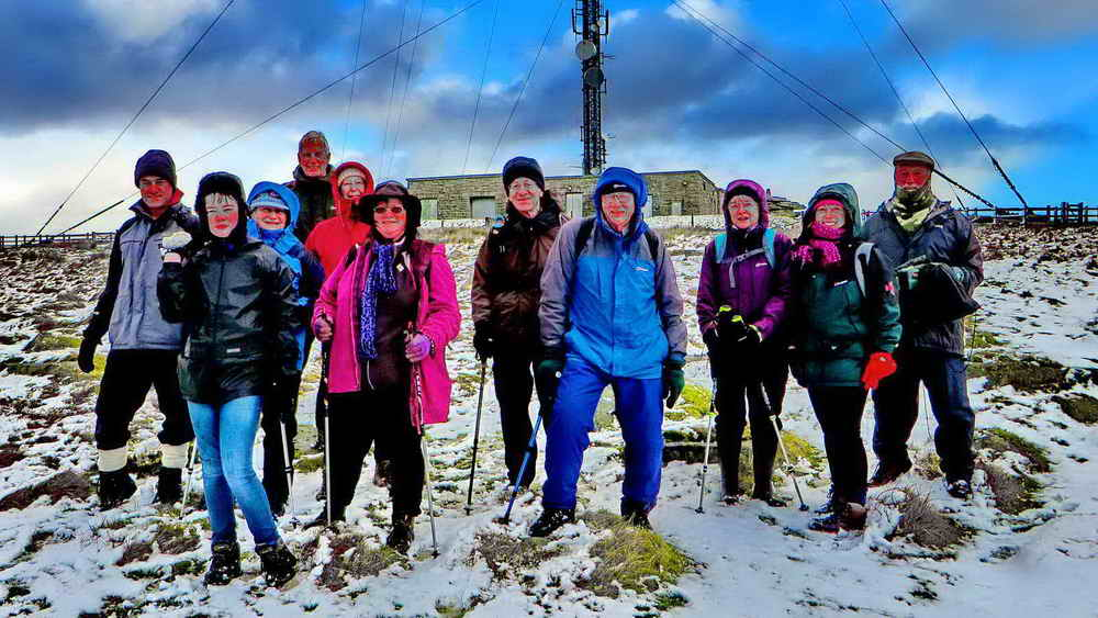 The group just below the North Hessary Tor TV transmitter