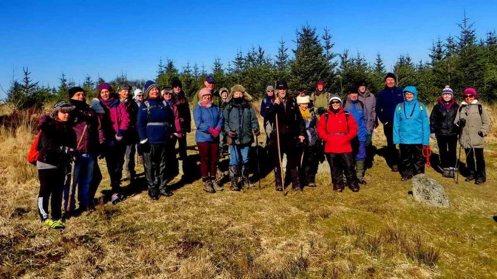 DPA Short Walks group at a cairn circle, cist and stone row