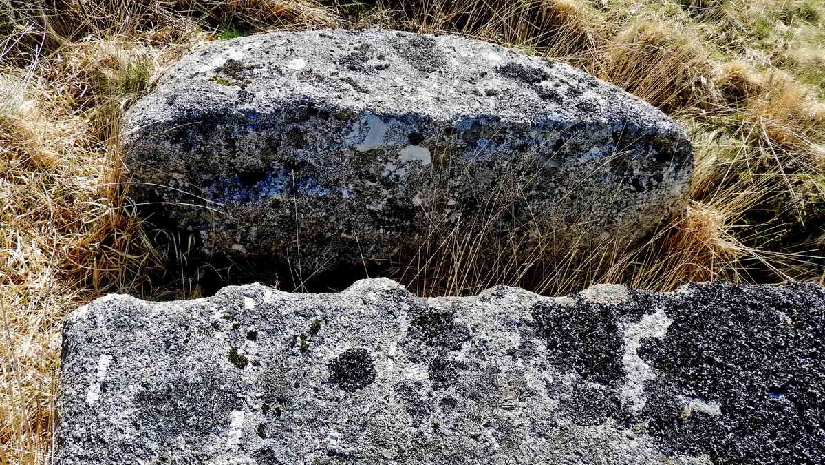 An example of the wedge and groove method of splitting granite