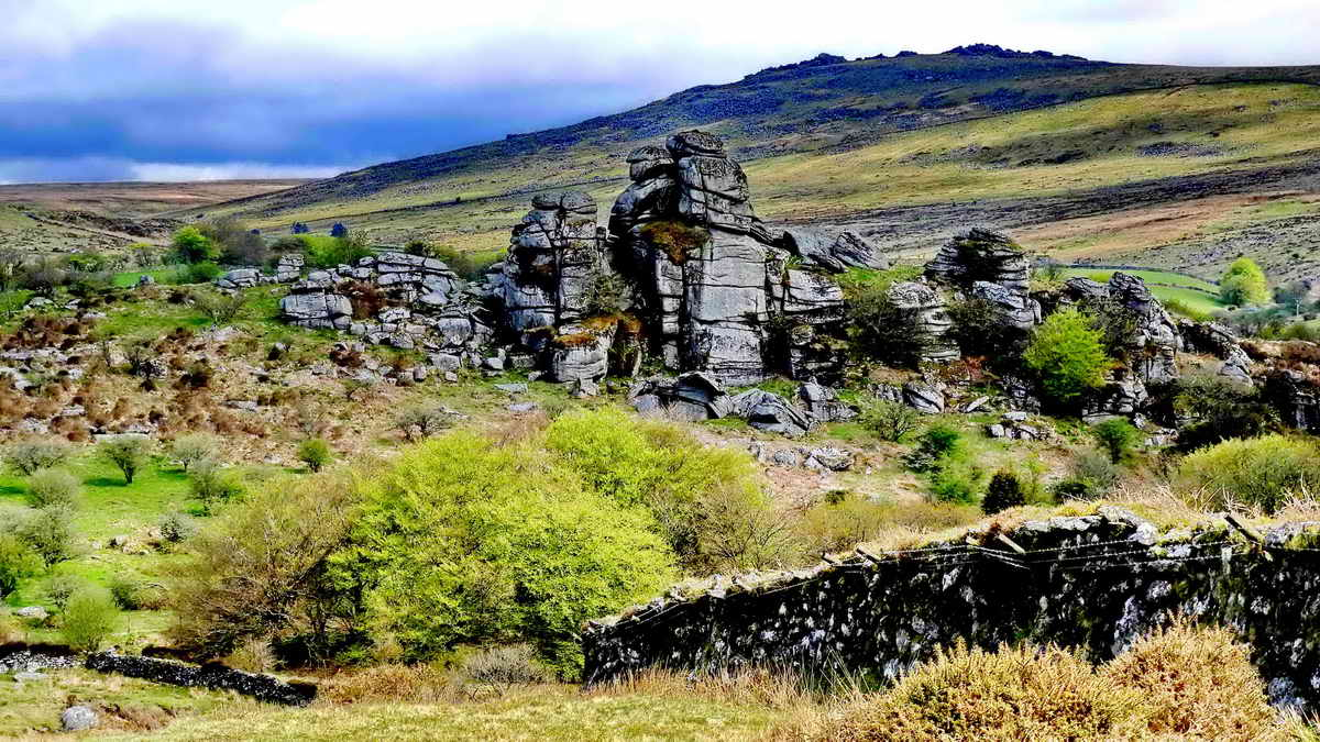 Vixen Tor, with Great Mis Tor behind and the Walkham valley to the left