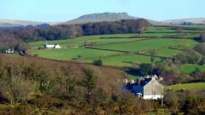 Zoomed view to Sheep's Tor, looking over Clearbrook hamlet (bottom right)