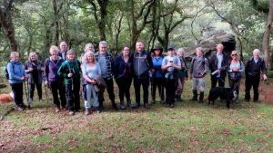 Walkers after coffee break, exiting the River Walkham valley