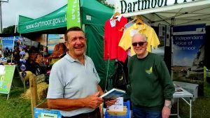 Organising the DPA stand at Chagford Show, 20 Aug. 2015, with volunteer David Auty