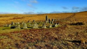 Down Tor cairn circle and stone row, aka Hingston Hill circle and row.