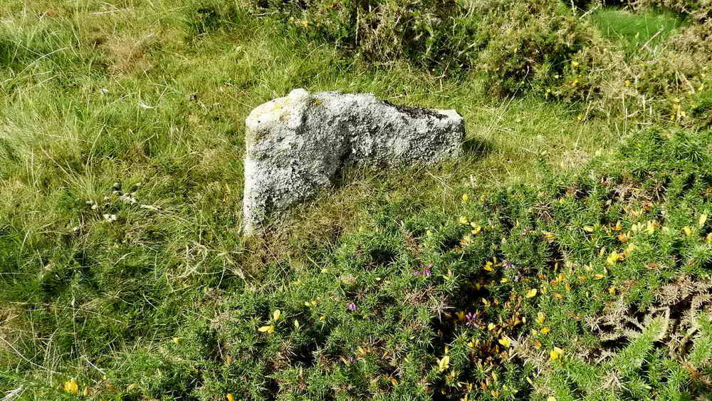 An RB stone beside the track