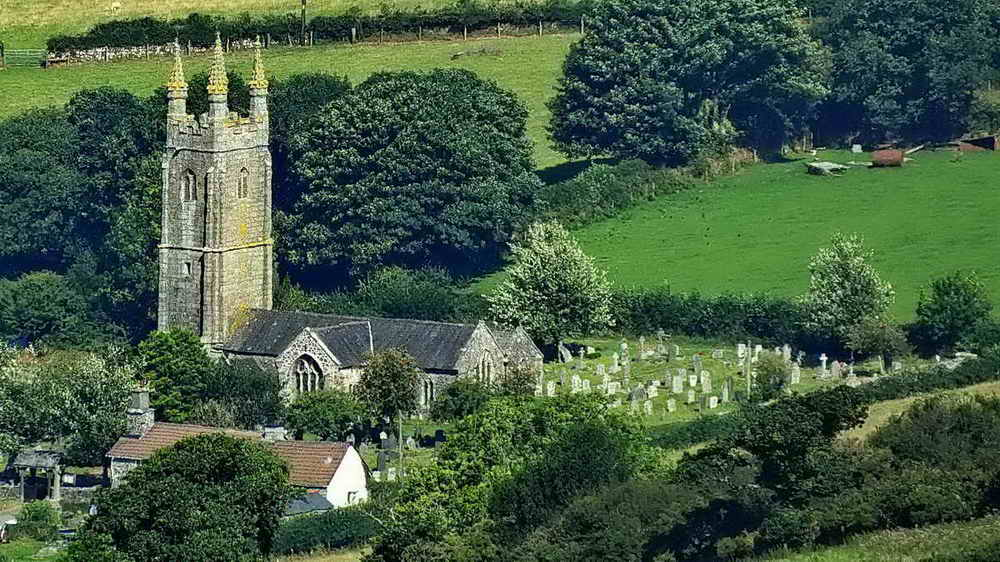 Zoomed view to Mary Tavy Church