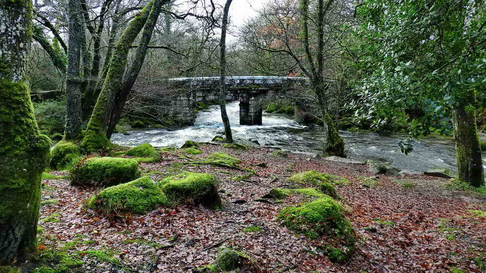 Shaugh Bridge and the confluence where the River Meavy (right) flows into the River Plym