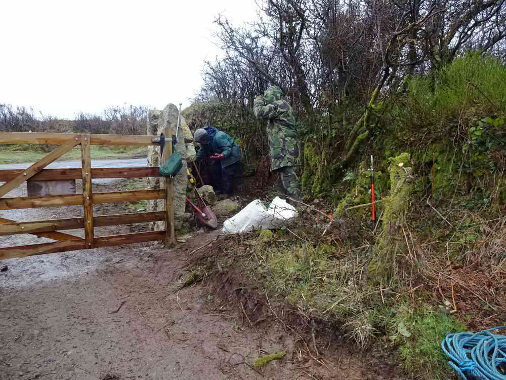 Starting the ditch to divert water away from the gateway. Photo: Hilary Marshall