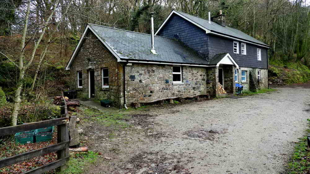 Dewerstone Cottage, at Dewerstone Bridge - the Blacklands Brook Falls are just out of sight, to the left of the building