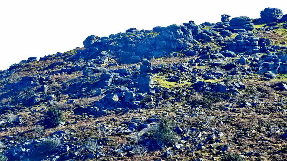 Hayne Down Rocks, with the pile of Bowerman's Nose