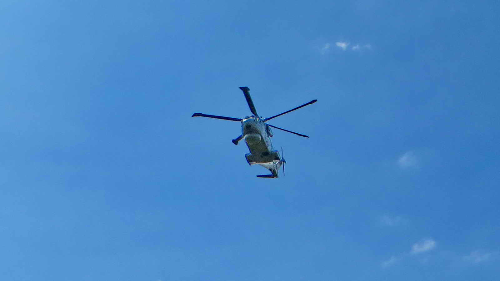 A Westland Merlin helicopter passed overhead as we were returning