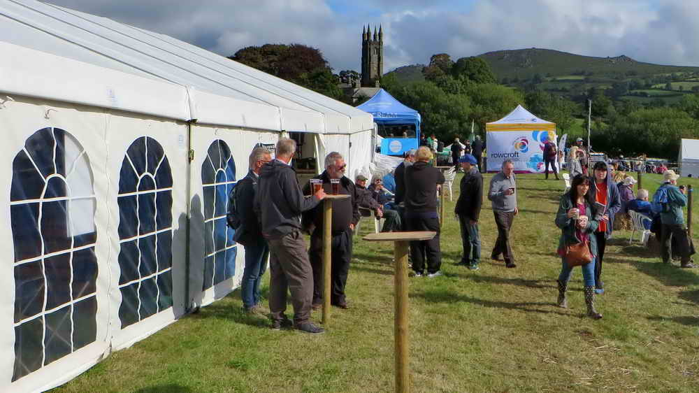 Early customers outside the beer tent, backing onto the Main Ring