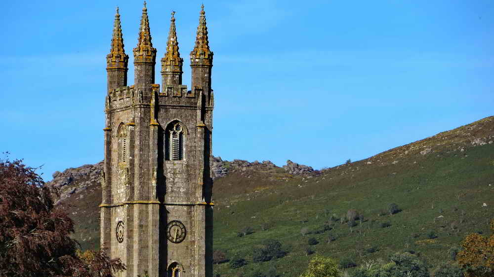 The tower of St. Pancras Church, Widecombe, also known as the Cathedral of the Moor