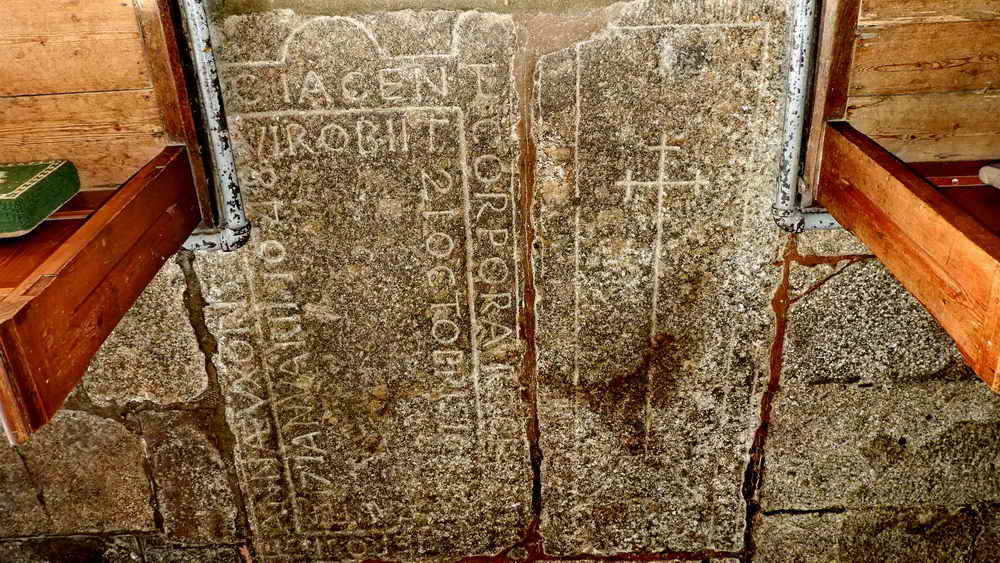 Two ledger stones marking the burials of the two victims killed instantly in the Great Storm of 1638