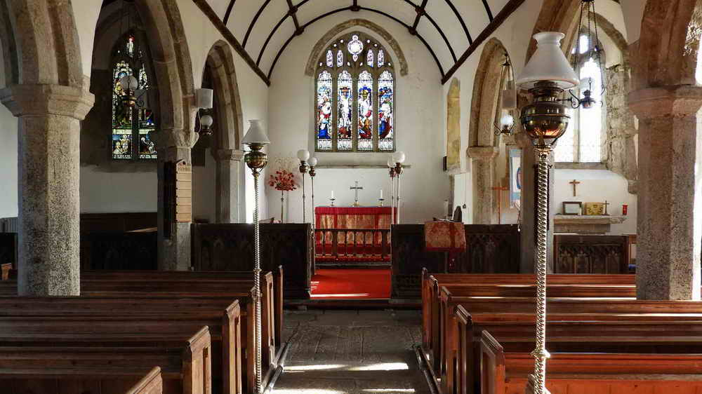A view of the altar, with the ledger stones in the aisle (seen from the other direction to the previous photograph)