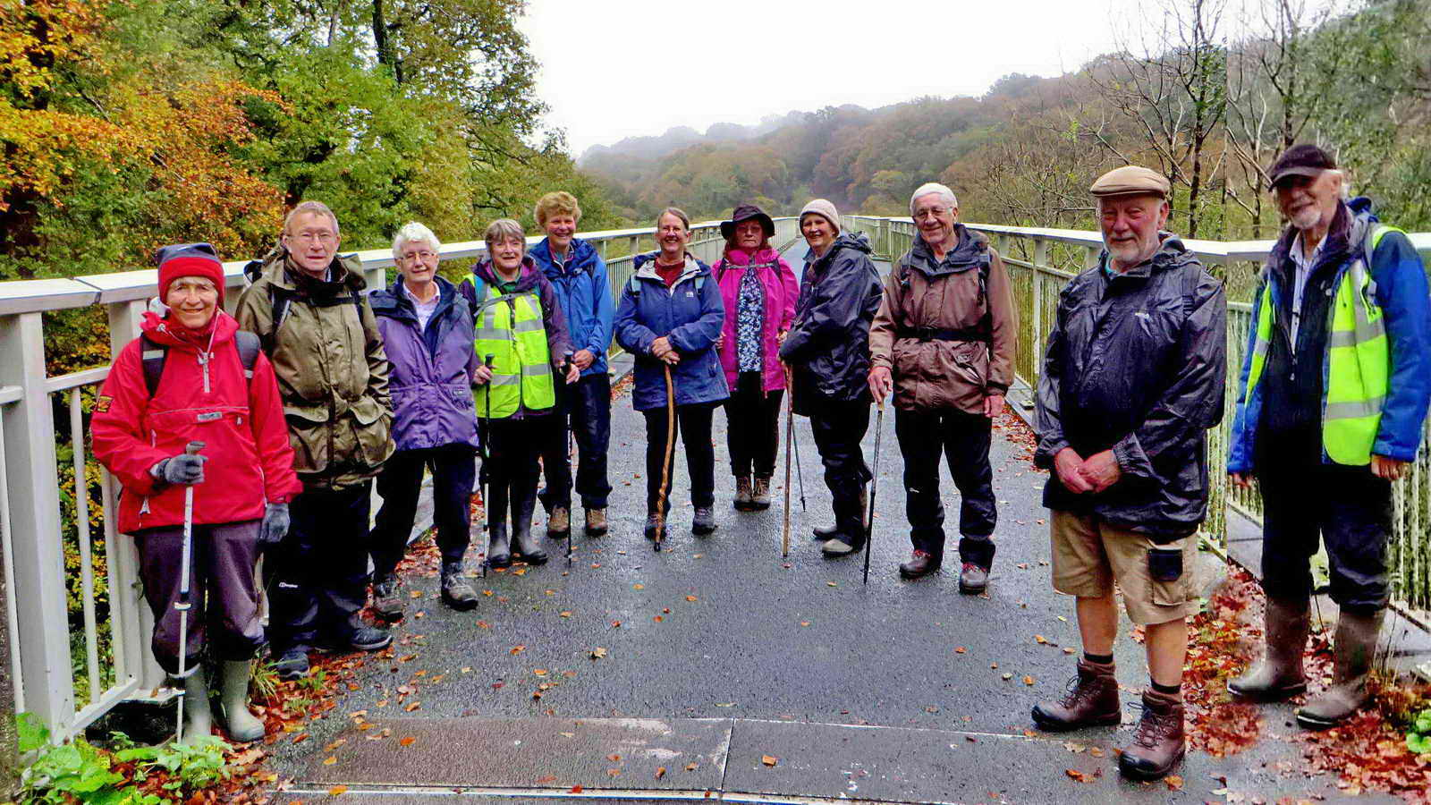 The walkers at Gem Bridge - all eleven of them