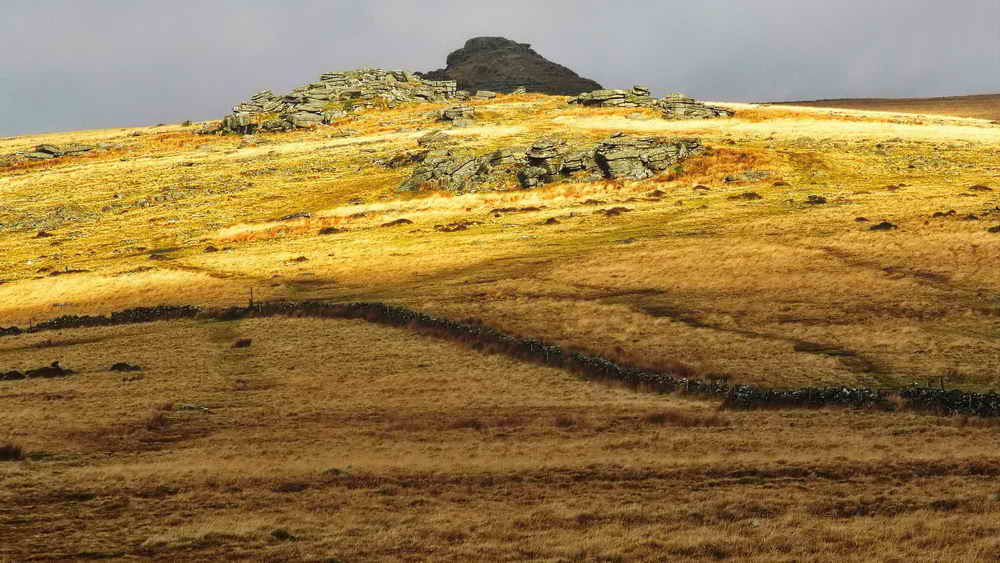 Littaford Tors with Longford Tor behind, in shade