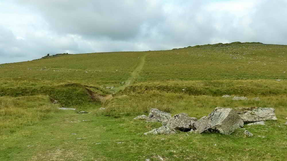 Crip Tor (left), Swell Tor (right) with the track of the tramway running up the hill
