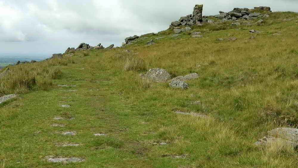 Tramway, with granite setts, approaching Crip Tor Quarry