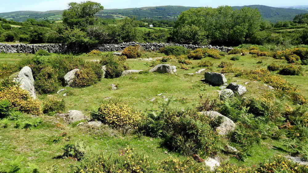 Large hut circle near Mel Tor, beside Dr Blackall's Drive