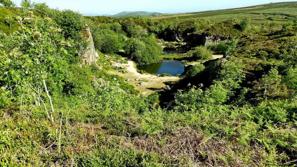 View into Haytor Main Quarry from the perimeter fence