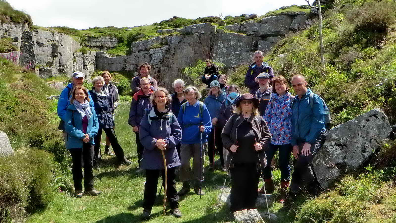 The group inside Rubble Heap Quarry with the rock face as a back drop