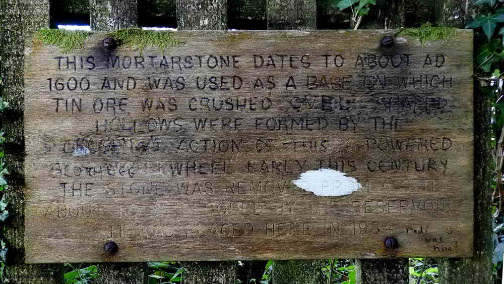 Notice above the mortar stone